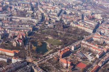 aerial view of wroclaw city in Poland