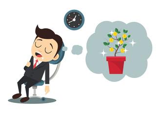 Worker dreams. Creative vector illustration