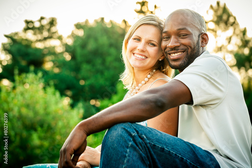 Mixed Race Couple at a Park - 80276399