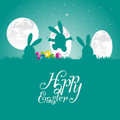 Easter bunny moon egg sea green background