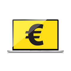 High-quality laptop screen with the Euro sign. Economy concept.