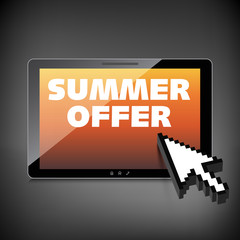 Summer offer words. Markdown, discount on High-quality tablet sc