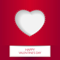 Love card Happy Valentines Day concept. Heart shape with shadow.