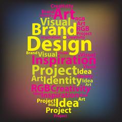 Text cloud. Design wordcloud. Typography concept. Vector illustr