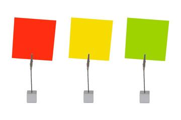 Notizzettel (rot, gelb, grün)