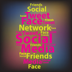 Text cloud. Social media wordcloud. Tag concept. Vector illustra