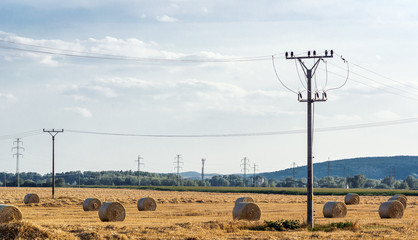 Electricity and hay bales