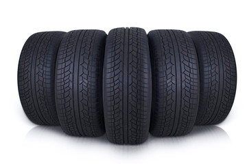 Black rubber tires in studio