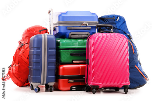 Suitcases and rucksack isolated on white - 80277533