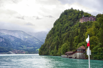 View to shores of Brienz Lake from steamer board