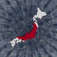 Japan map flag on Yen sunburst illustration