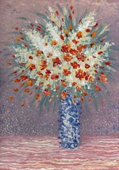 Red flowers in blue vase
