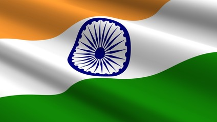 Indian flag background. Computer generated 3D photo rendering.