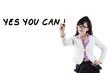 Confident businesswoman writes an advice