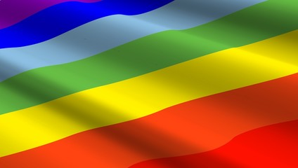 Rainbow flag background. Computer generated 3D photo rendering.