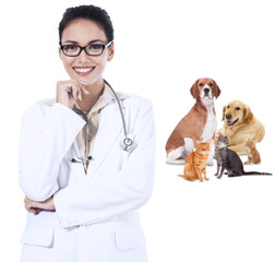 Female vet smiling