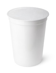 White plastic container for dairy foods with foil lid