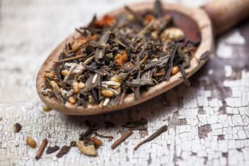 Tea leaves on vintage spoon