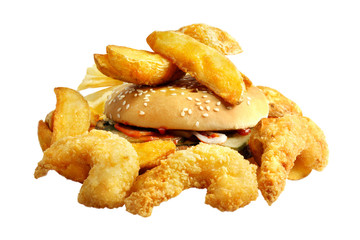 fast food meal with potato and burger
