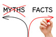 Myths Facts Arrows Concept