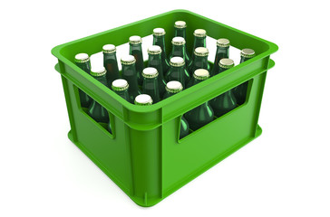 Crate full with beer bottles