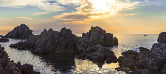 tranquil sunset scenery in Sardegna island