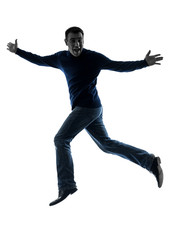 man happy jumping saluting silhouette full length