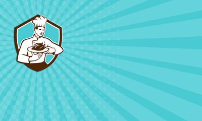 Business card Chef Cook Serving Chicken Platter Shield Retro