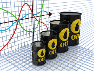 One row of oil barrels and a financial chart on background