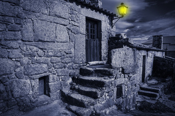 house at night in Sortelha village, Sabugal Portugal