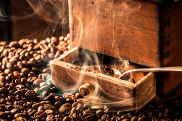 Aroma of fresh coffee seeds