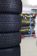 Tires in the spare parts store