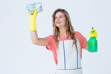 Hipster woman cleaning