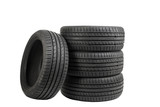 Tires isolated on white, special color effect