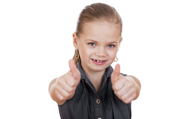 Little girl is showing thumb up gesture using both hands