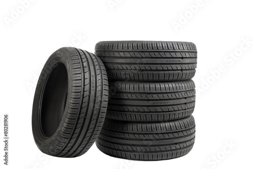 Leinwanddruck Bild Tires isolated on white, special color effect