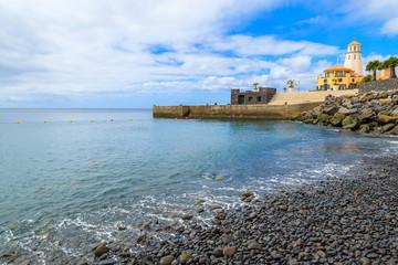 Beautiful beach on coast of Madeira island, Portugal