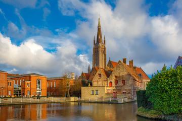 The picturesque city landscape in Bruges, Belgium