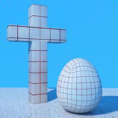 Osterei und Kreuz - 3d Render