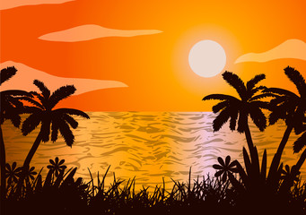 Vector illustration. Sunset in the ocean, beach, palm tree