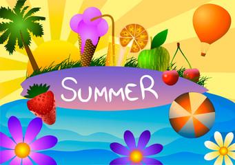 Vector illustration of Summer time.