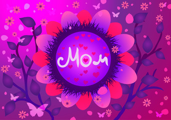 Vector illustration of Mothers Day.