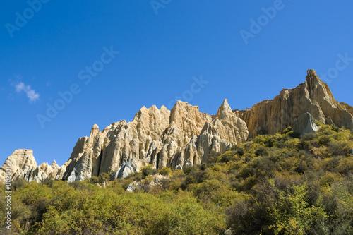 Poster Omarama Clay Cliffs. Natural pinnacles, valleys