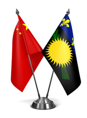 China and Guadeloupe - Miniature Flags.