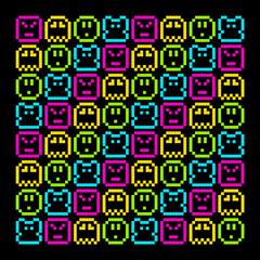 8-Bit Pixel Retro Rainbow Character Pattern. EPS8 Vector