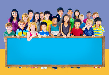 Multi-Ethnic Group Children Empty Billboard Concept
