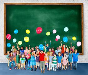 Multiethnic Children Smiling Happiness Friendship Balloon Concep