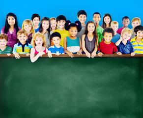 Diversity Friendship Group of Kids Education Blackboard Concept