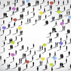 Crowd People Speech Bubbles Conversation Concept