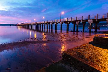 beautiful sunrise at the sea pier